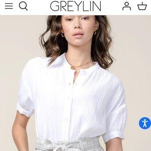 Greylin Olana cotton gauze blouse white